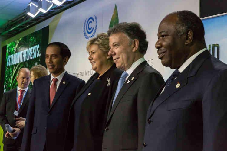 Le président indonésien, Joko Widodo, la première ministre norvégienne, Erna Solberg, le président colombien, Juan Manuel Santos Calderón, et le président gabonais, Ali Bongo Ondimba.