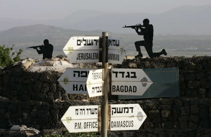 Des sculptures en métal installées sur le plateau du Golan, en avril 2008.