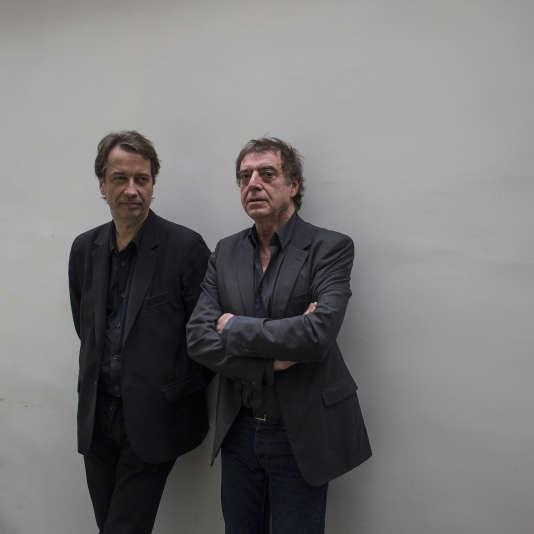 Portraits réalisés le 30 novembre 2015 à Paris des producteurs Olivier Poubelle (à gauche, Société Astérios) et Jules Frutos (à droite, Alias Production), tous deux co-directeurs de la salle de spectacle parisienne du Bataclan visée par une attaque terroriste le 13 novembre 2015.