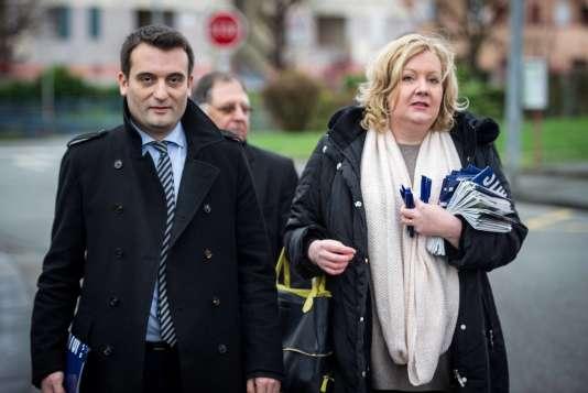 Le vice-président du FN, Florian Philippot, avec Sophie Montel, députée européenne et candidate du parti en Bourgogne-Franche-Comté , à Delle, le 1er décembre 2015.