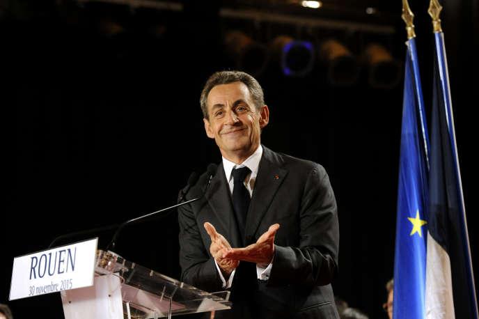Réunion publique de Nicolas Sarkozy, président des Républicains, venu soutenir la liste menée par Françoise Guégot et Hervé Morin pour les élections régionales en Normandie.