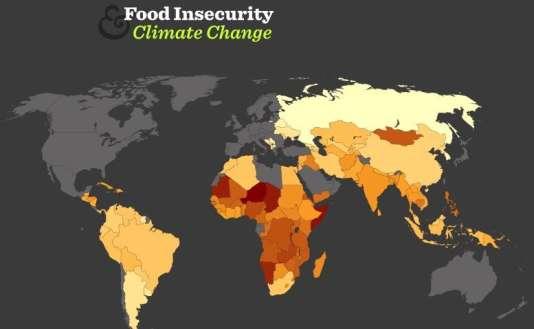 Carte montrant la vulnérabilité des pays à l'insécurité alimentaire.