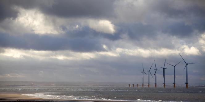 Un parc d'éoliennes en mer.