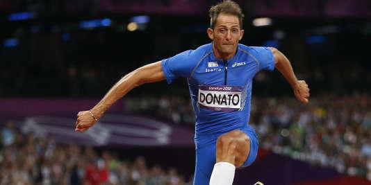 Le triple sauteur Fabrizio Donato, aux Jeux olympiques de Londres 2012, où il remporta la médaille de bronze.