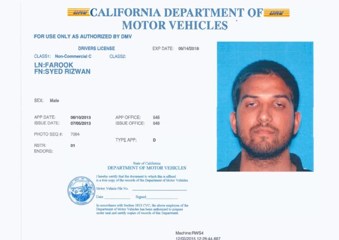 Le permis de conduire de Syed Rizwan Farook.