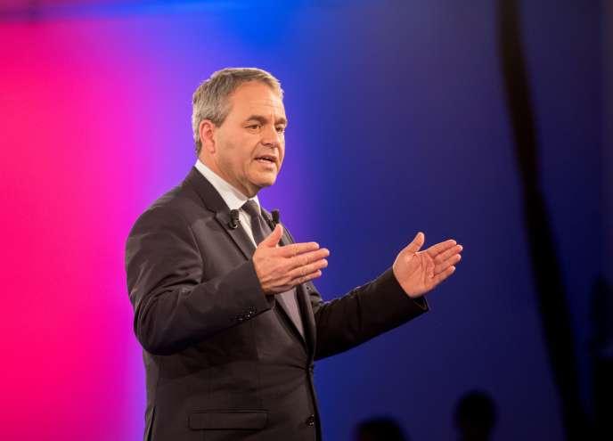 Xavier Bertrand, lors d'un meeting de campagne àLille, le 3 décembre 2015.