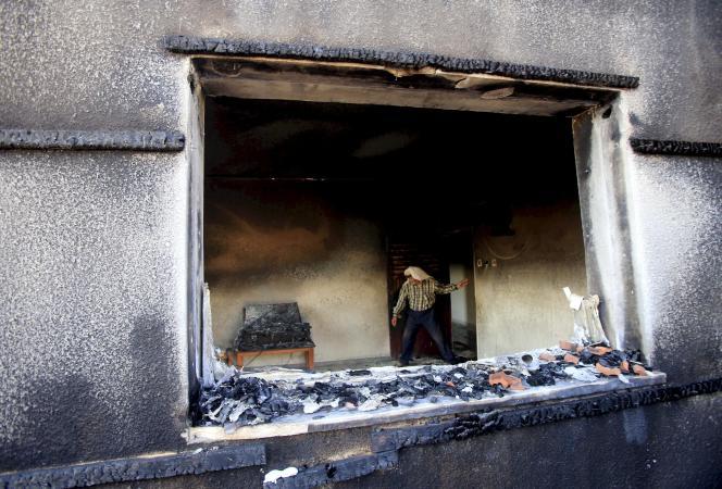 La maison dans laquelle un bébé palestinien de 18 mois est mort brûlé vif, le 31 juillet.