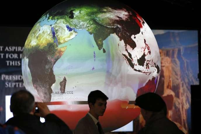 Lors de la COP21, au Bourget, le 3décembre 2015.