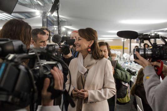 Ségolène Royal en visite a la salle de presse ce matin.