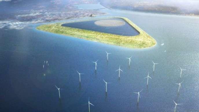 Au Danemark, le laboratoire national Risø et des architectes travaillent à une île avec un réservoir de 3,3 km2 pouvant produire 2,75 GWh d'électricité.