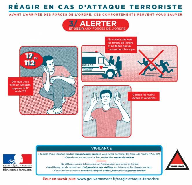 Une fois en sécurité, il est recommandé d'appeler les numéros d'urgence (17 et 112), et, à l'approche des forces de l'ordre, de ne pas courir vers elles ou d'avoir des gestes brusques, et de lever les mains en l'air, paumes ouvertes.