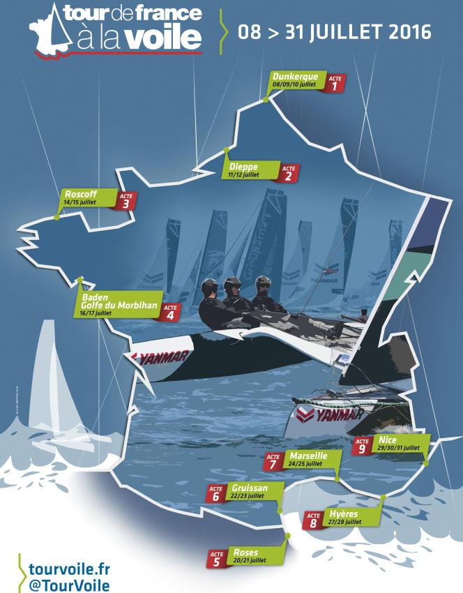 Le nouveau parcours du Tour de France à la voile, qui se déroulera du 8 au 31 juillet 2015.