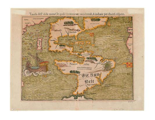 """Une des premières cartes allemandes à mentionner le Pacifique par son nom """"Mare pacificum""""."""