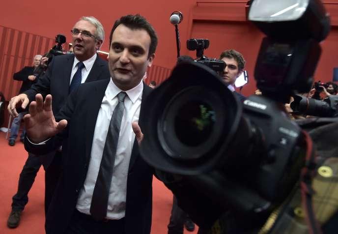 «Quand on pense qu'il y a quelques années encore, l'idée qu'entre les deux tours, un démocrate débatte avec un candidat du FN nous semblait hors de propos, et qu'aujourd'hui, le service public prie pour que cela se produise avant le scrutin même!» (Photo: Florian Philippot, vice-président du FN, le 6 décembre 2015, à Strasbourg).