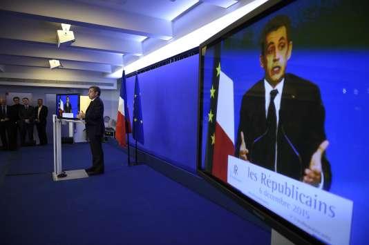 Le président des Républicains, Nicolas Sarkozy, au soir du premier tour des élections régionales, le 6 décembre.