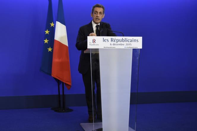 Nicolas Sarkozy, à Paris le 6 décembre 2015, après les résultats du premier tour des élections régionales.