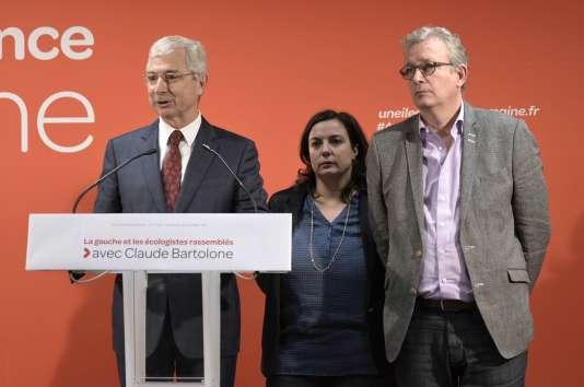 Claude Bartolone, Emmanuelle Cosse et Pierre Laurent, lundi 7 décembre à Paris.