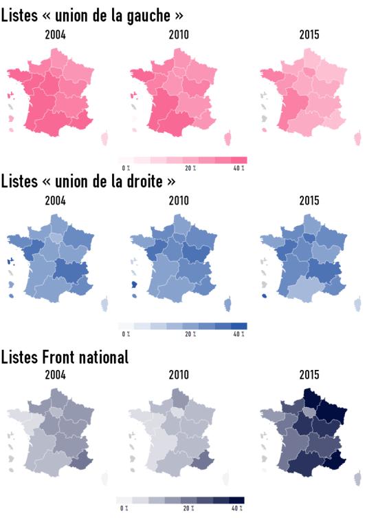 L'évolution des grandes familles politiques au premier tour des régionales 2004, 2010 et 2015.