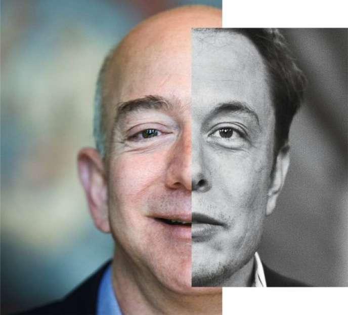 Jeff Bezos, 51 ans et Elon Musk, 44 ans, deux grands patrons américains attirés par l'espace…