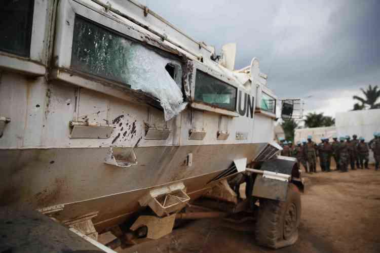 Un blindé de la Monusco après l'attaque des rebelles ADF-Nalu. En décembre 2014, une offensive commune de la Monusco et de l'armée congolaise contre les miliciens avait été suivie d'une accalmie.
