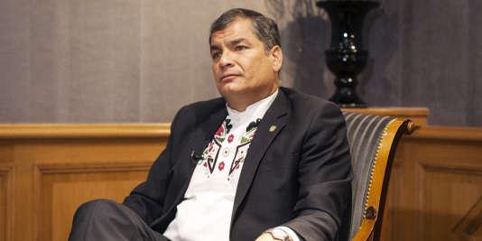 Rafael Correa à l'Hotel Scribe à Paris, le 1er décembre 2015.
