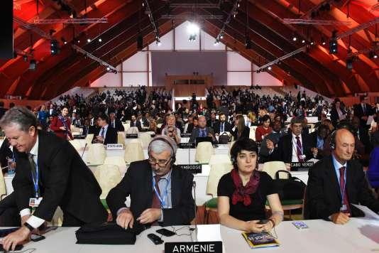 Session de la COP21, Le Bourget, 9 décembre 2015.  / AFP / DOMINIQUE FAGET