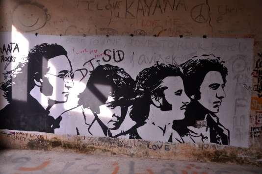 Un graffiti représentant les Beatles sur un mur de l'ashram, à Rishikesh.