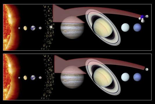 Vue d'artiste présentant deux hypothèses concernant la formation de Cérès : en haut, Cérès s'est formée dans la ceinture principale, et l'ammonium qui entre dans sa composition provient des zones externes du système solaire ; en bas, la planète naine s'est formée dans ces zones externes, incorporant l'ammonium durant ce processus, avant de migrer vers la ceinture principale.