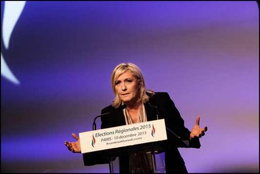 La candidate du FN en Nord-Pas-de-Calais-Picardie avait réuni, salle Wagram, à Paris, l'ensemble des têtes de liste de son parti.