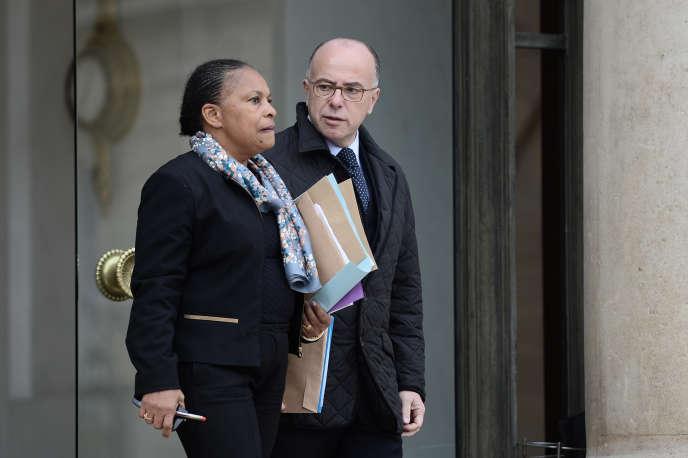 Christiane Taubira et Bernard Cazeneuve, à l'Elysée, le 14 novembre.