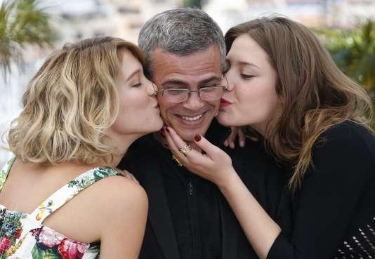 Léo Seydoux, Abdellatif Kechiche et Adèle Exarchopoulos à la 66ème édition du festival de Cannes, le 23 mai 2013.