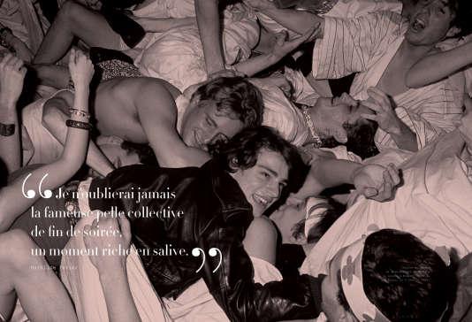 """Charles Beigbeder et Jean-Bernard de Menthon à la soirée """"Romaine orale"""", aux Bains Douches, le 8 février 1987."""