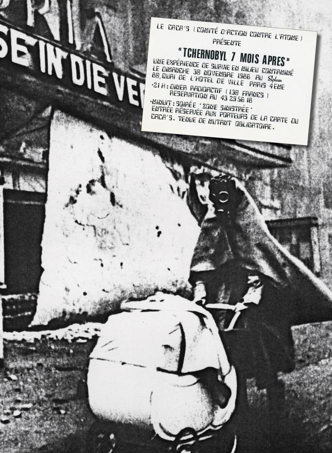 L'affiche de la soirée Tchernobyl du Caca's, organisée 7 mois après l'explosion de la centrale nucléaire.