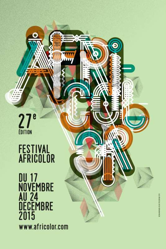 Affiche de la 27e édition du festival Africolor, du 17 novembre au 24 décembre 2015.