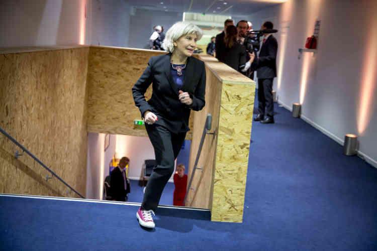 Laurence Tubiana, ambassadrice de la France chargée des négociations sur le changement climatique dans l'espace de la présidence française de la COP21. Elle a été la cheville ouvrière de la préparation de la conférence de l'accord de Paris depuis deux ans.