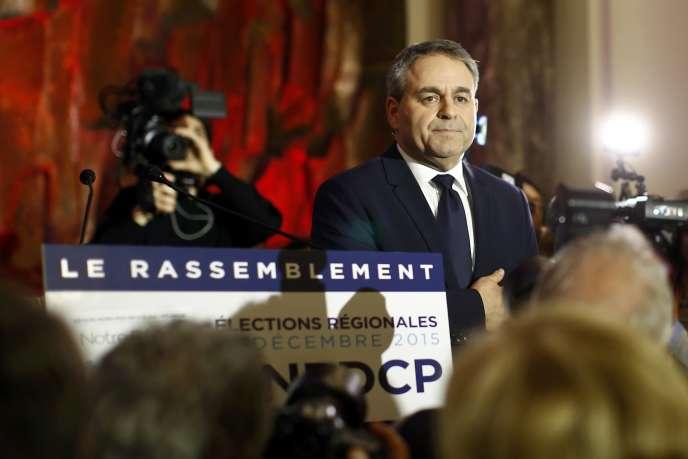 Xavier Bertrand après le second tour des élections régionales, le 13 décembre 2015, à Saint-Quentin.