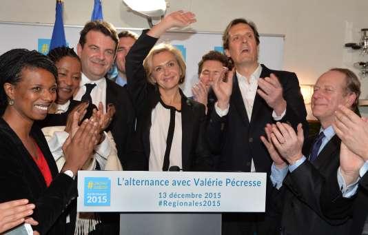 La tête de liste des Républicains en Ile-de-France, Valérie Pécresse, dimanche 13décembre 2015, après sa victoire dans la région.