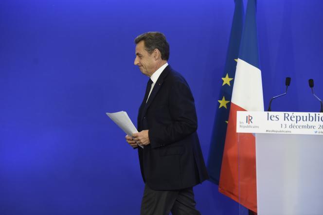 Nicolas Sarkozy, le 13 décembre 2015 à Paris.