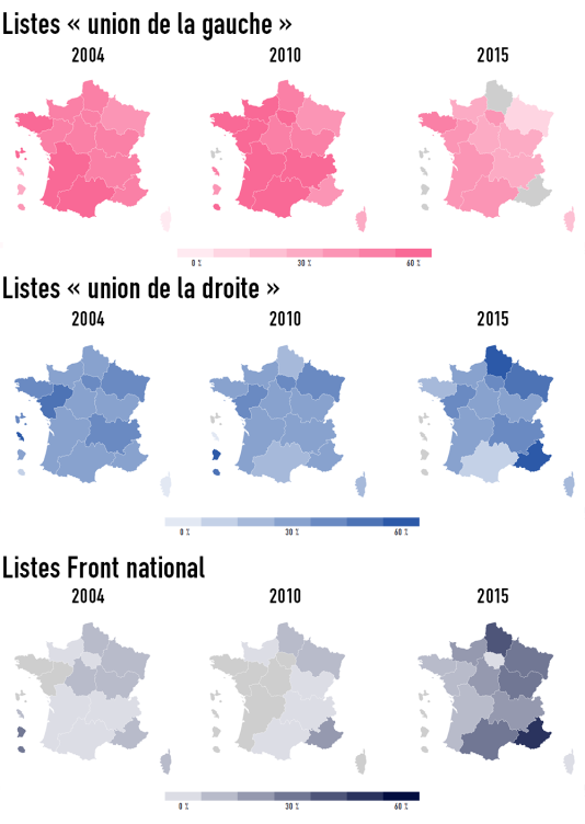 Le pourcentage de vote au second tour des élections régionales de 2004, 2010 et 2015.