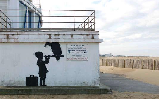 Une des oeuvres réalisées par Banksy à Calais.