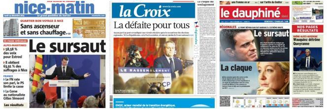 La une de trois quotidiens français, le 14 décembre, au lendemain du second tour des régionales.