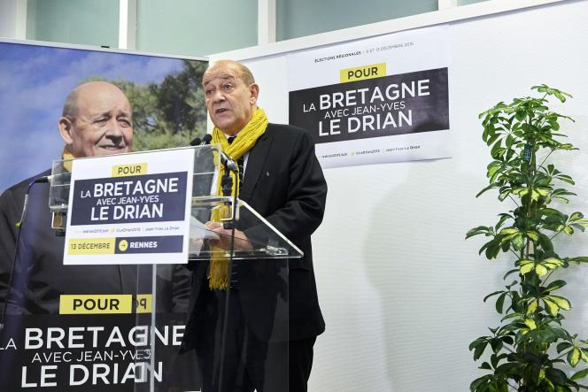 Jean-Yves Le Drian (PS), après sa victoire au second tour des élections régionales le 13 décembre 2015.