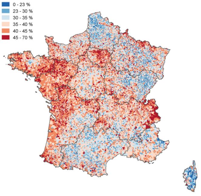 L'absention par commune en France métropolitaine