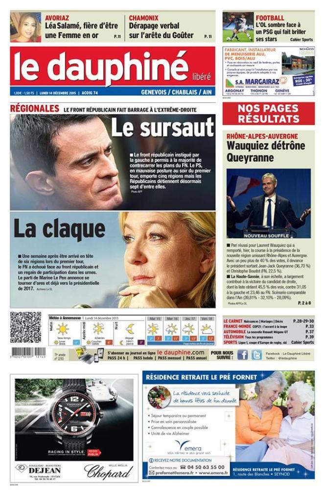 Le parti frontiste subit «une claque», en «une» du «Dauphiné Libéré».