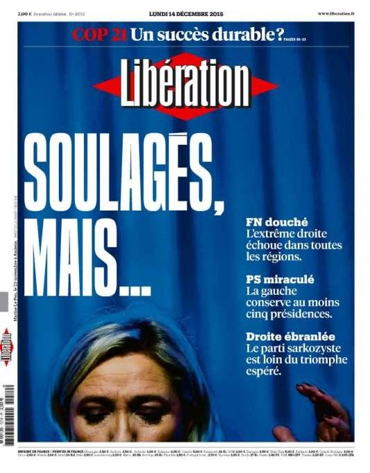 Le quotidien «Libération» se dit «soulagé» de l'échec du Front national à conquérir une région.