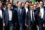 François Fillon, Alain Juppé et Nicolas Sarkozy  à l'université d'été des militants des Républicains (LR) des Pays de la Loire, à La Baule, en septembre 2015.