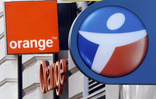 Enseignes Orange et Bouygues Telecom à Marseille.