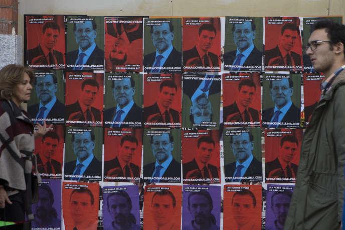 Affiches électorales pendant les élections générales espagnoles de décembre 2015.