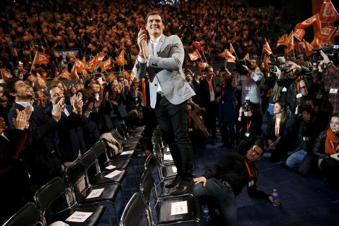 Le chef du parti Ciudadanos, Albert Rivera, lors d'un meeting à Madrid, le 13 décembre.