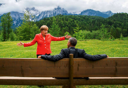 Angela Merkel avec Barack Obama à Krün, en Bavière, lors du Sommet du G7, le 8 juin 2015.